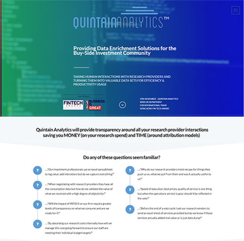 Quintain Analytics Website Image